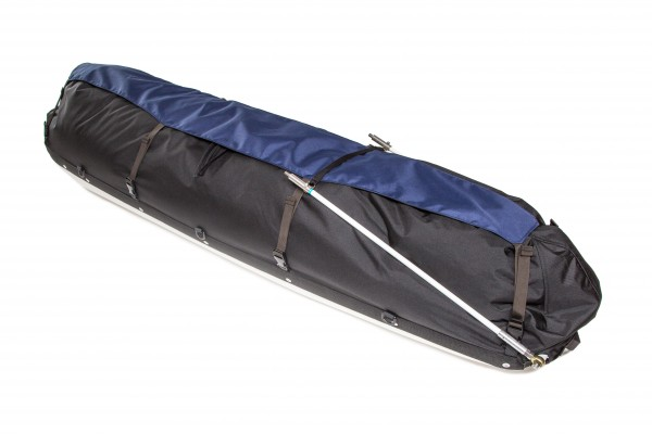 The Expedition pulk with the Split Poles shown taken apart allowing you to use the black strap as a handle to pull the pulk around camp